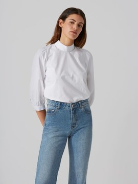 Frank and Oak Papertouch Poplin Mockneck Top in Bright White
