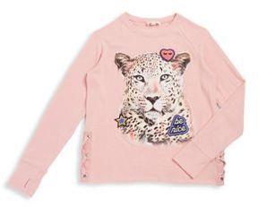 Jessica Simpson Girl's Leopard Graphic Pullover