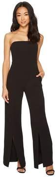 Donna Morgan Strapless Crepe Jumpsuit with Front Leg Split Detail Women's Jumpsuit & Rompers One Piece