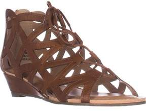 Esprit Cacey Geometric Cutout Lace Up Wedge Ankle Booties, Cognac.