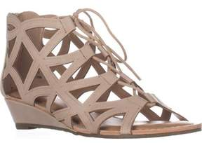 Esprit Cacey Geometric Cutout Lace Up Wedge Ankle Booties, Beige.