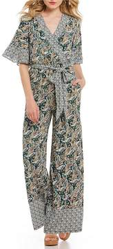 Chelsea & Violet Ruffle Sleeve Printed Tie Front Wrap Jumpsuit