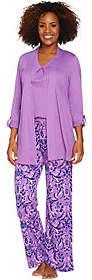 Carole Hochman Watercolor Porcelain 3-Pc Patio Pant Pajama Set