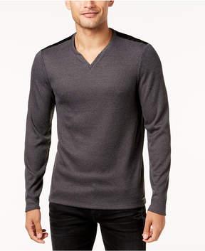 GUESS Men's Textured Stretch Geo-Print Split-Neck Shirt