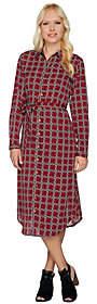 C. Wonder As Is Midi Length Lattice Print Button Shirt Dress