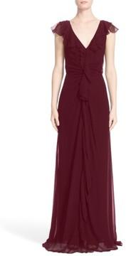 Carolina Herrera Women's Ruffle Detail Silk Chiffon V-Neck Gown