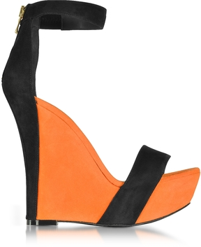 Balmain Samara Orange and Black Suede Wedge Sandals