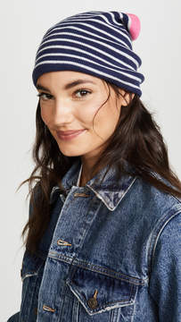 Plush Fleece Lined Striped Beanie Hat