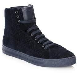 Versace Topstitched Velvet Hi-Top Sneakers