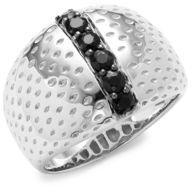 Effy Sterling Silver & Black Sapphire Band Ring
