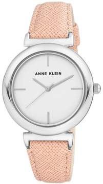 Anne Klein Silvertone Pink Textured Faux Leather Strap Watch
