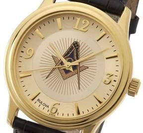 Bulova New Men's Gold Finished Masonic Blue Lodge Watch