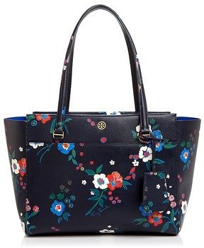 Tory Burch Parker Floral Print Small Tote - PANSY BOUQUET FLORAL/ GOLD - STYLE