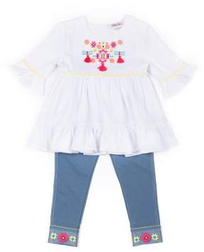 Little Lass Baby Girl Embroidered Tunic & Jeggings Set