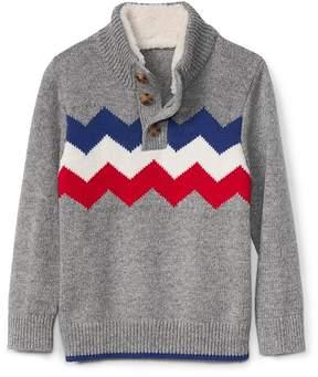 Gap Zigzag-chest mockneck sweater henley
