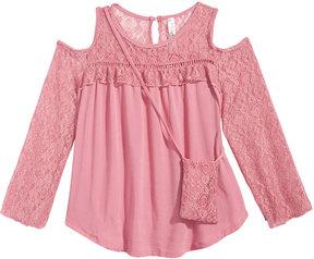 Beautees Cold-Shoulder Illusion-Lace Top & Purse Set, Big Girls (7-16)