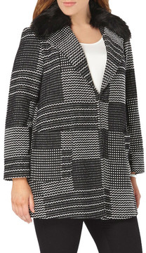 Evans Square Jacquard Coat with Faux Fur Collar (Plus Size)