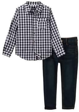 Hudson Plaid Shirt & Straight Pants 2-Piece Set (Toddler Boys)
