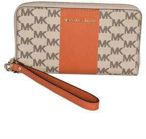 Michael Kors Center Stripe Zip Around Wallet - NATURAL/ORANGE - STYLE