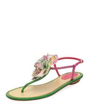 Rene Caovilla Embellished Leather Flat Sandal w/ Flower