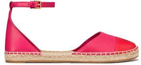 Tory Burch COLOR-BLOCK LEATHER?ANKLE-STRAP ESPADRILLE