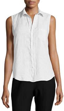 Frank And Eileen Fiona Sleeveless Button-Down Linen Shirt, Blue Stripes