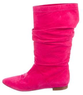 Brian Atwood Ruched Suede Booties