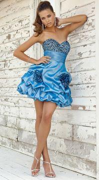 Blush Lingerie 9290 Beaded Rosette Taffeta Dress