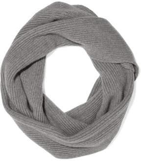 The Elder Statesman Infinity Ribbed-knit Cashmere Scarf - Light gray