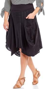 Chelsea & Theodore Plus Pocket Pull-On Asymmetric Midi Skirt