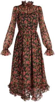 Dolce & Gabbana Rose-print ruffle-trimmed silk-chiffon dress