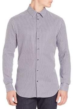 Giorgio Armani Geometric Motif Cotton Shirt