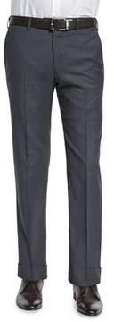 Armani Collezioni Basic Flat-Front Wool Trousers, Charcoal