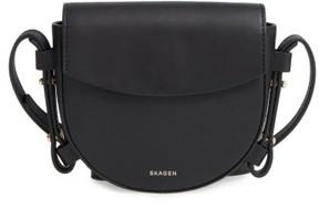 Skagen Mini Lobelle Leather Saddle Bag - Black
