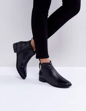 Faith Brogana Buckle Leather Ankle Boots