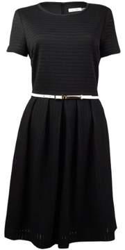 Calvin Klein Women's Belted Pointelle A-Line Dress