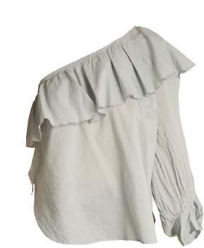 Apiece Apart Bergamot one-shoulder cotton-voile top
