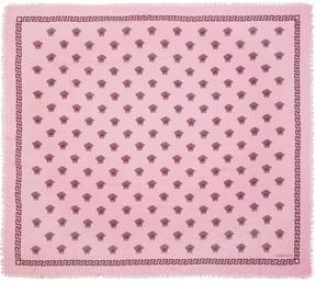 Versace Pink and Burgundy Medusa Modal Scarf