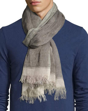 Brunello Cucinelli Linen Border Scarf with Fringed Ends, Green