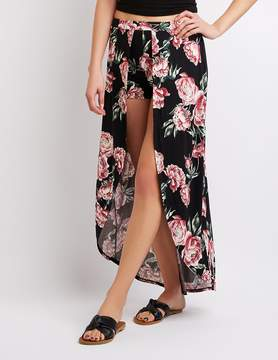 Charlotte Russe Floral Layered Maxi Shorts