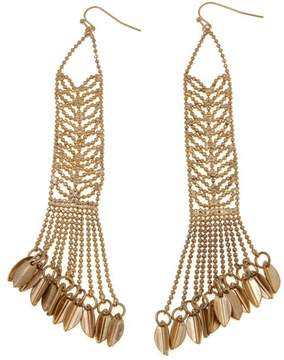 Danielle Nicole Delphine Mesh Leaf-Design Fringe Earrings