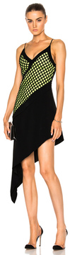 David Koma V-Cut Asymmetrical Hem Underlayer Dress in Black,Green.