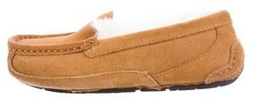 UGG Boys' Suede Shearling-Lined Slippers