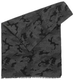 HUGO BOSS Camouflage Cotton Jacquard Scarf Net One Size Black