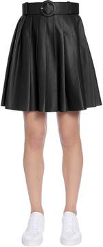 Drome Pleated Leather Skirt With Belt