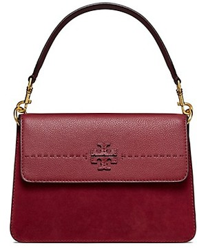 Tory Burch Mcgraw Mixed Suede Shoulder Bag - IMPERIAL GARNET - STYLE