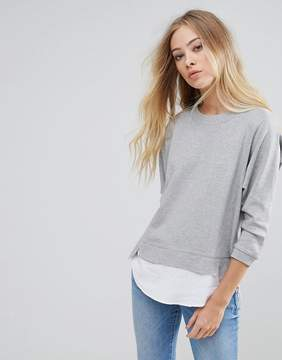 B.young Sweater With Shirting Panels