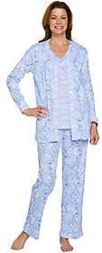 Carole Hochman Ultra Jersey Moroccan Tile & Stripe 3-Pc Pajama Set
