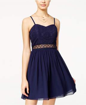 BCX Juniors' Lace Chiffon A-Line Dress
