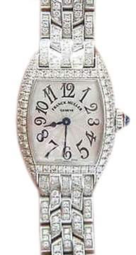 Franck Muller Cintree Curvex 18K White Gold Diamond Watch # 2500 QZD